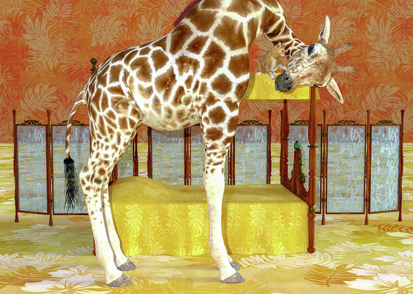 Wall Art - Digital Art - Ms Kitty And Her Giraffe  by Betsy Knapp