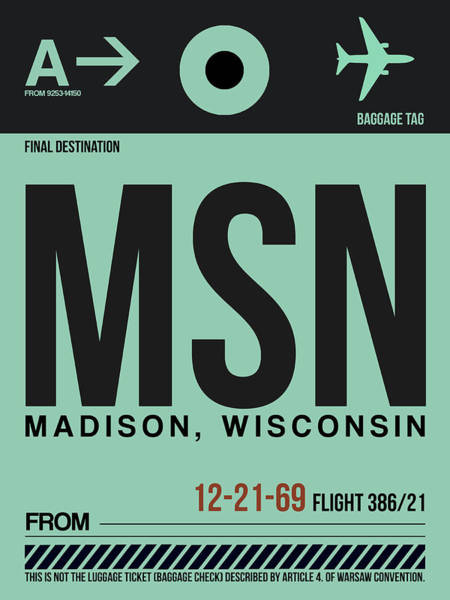 Wisconsin Wall Art - Digital Art - Msn Madison Luggage Tag I by Naxart Studio