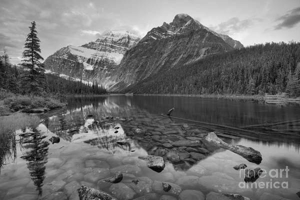 Photograph - Mt Edith Cavell 2019 Sunrise Reflections Black And White by Adam Jewell