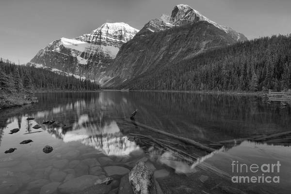 Photograph - Mt. Edith Cavell Evening Reflections Black And White by Adam Jewell