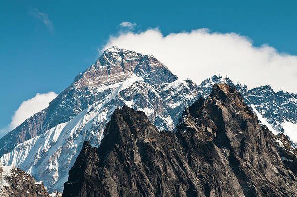 Khumbu Wall Art - Photograph - Mt Everest Summit South Face Yellow by Fotovoyager