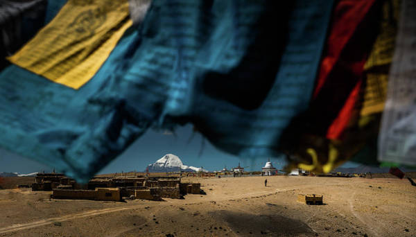 Mt. Kailash With Flags Foreground Art Print