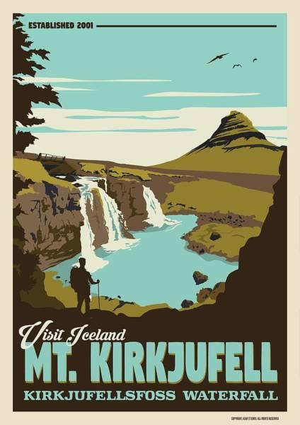 Wall Art - Painting - Mt. Kirkjufell   Kirkjufellsfoss Waterfall by Celestial Images