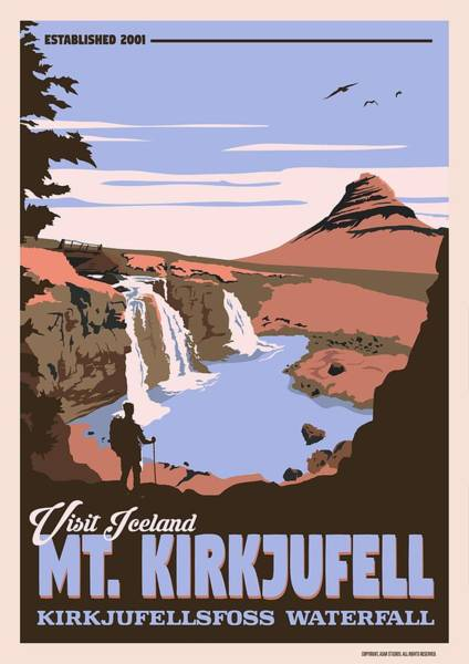 Wall Art - Painting - Mt  Kirkjufell   Kirkjufellsfoss Waterfall V3 by Celestial Images