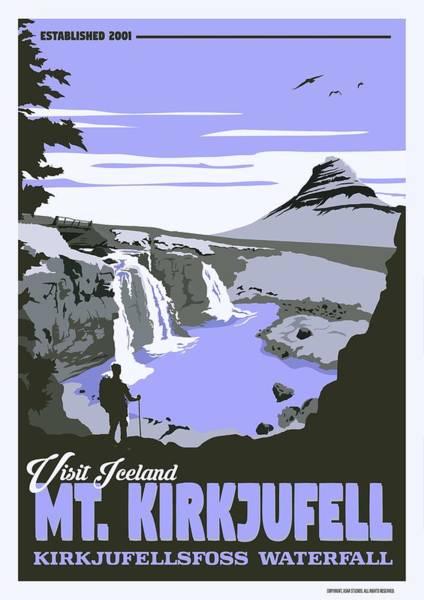 Wall Art - Painting - Mt  Kirkjufell   Kirkjufellsfoss Waterfall V4 by Celestial Images