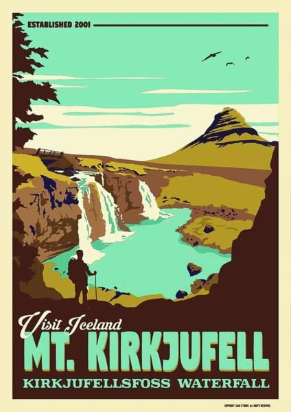 Wall Art - Painting - Mt. Kirkjufell   Kirkjufellsfoss Waterfall V5 by Celestial Images