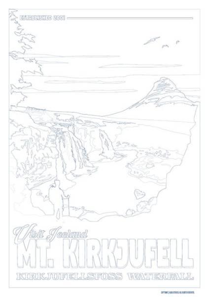 Wall Art - Painting - Mt. Kirkjufell   Kirkjufellsfoss Waterfall V6 by Celestial Images