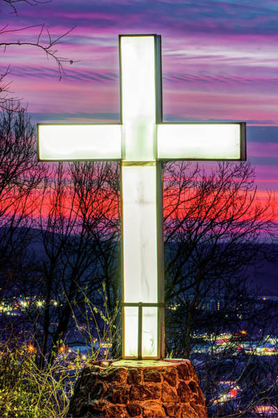 Photograph - Mt Sequoyah Cross Wall Art Print - Fayetteville Arkansas by Gregory Ballos