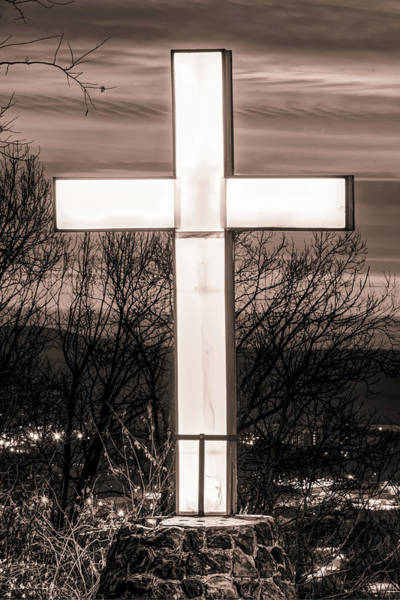 Photograph - Mt Sequoyah Cross Wall Art Print - Fayetteville Arkansas - Sepia Edition by Gregory Ballos