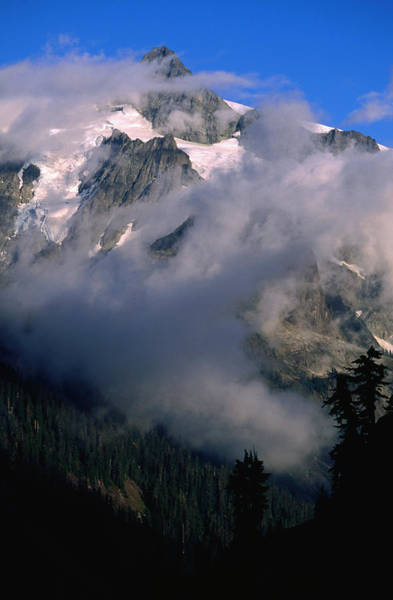 Hiding Photograph - Mt Shukasan 9127ftpartially Concealed by John Elk