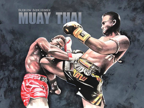 Thai Wall Art - Painting - Muay Thai by Wachira Kacharat