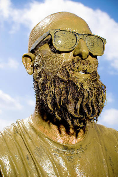 Shaved Head Photograph - Mud Run Competitor Covered In Mud18-25 by Pete Starman