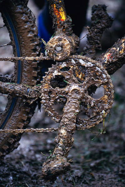 Pedal Wall Art - Photograph - Muddy Bicycle, Close-up by Anton Want