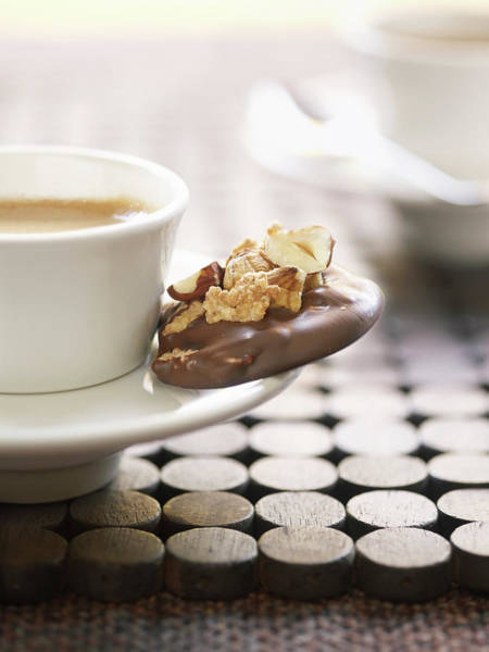 Mug Photograph - Mug Of Coffee With A Chocolate Biscuit by Philippe Desnerck