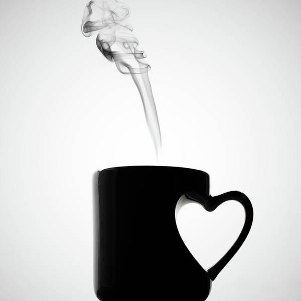 Mug Photograph - Mug Of Coffee With Handle Of Heart Shape by Saulgranda