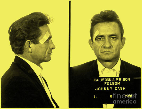 Arkansas Mixed Media - Mugshot Of Johnny Cash Taken At Folsom Prison In 1966, Background Color by Thomas Pollart