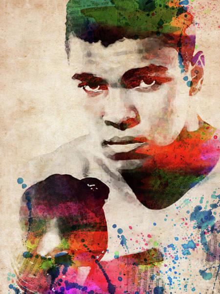 Sportsman Digital Art - Muhammad Ali Watercolor Portrait by Mihaela Pater