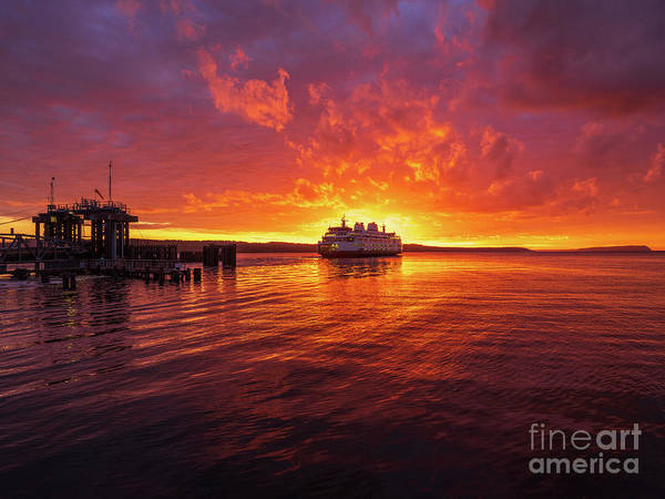 Wall Art - Photograph - Mukilteo Ferry Sunset Reflection by Mike Reid