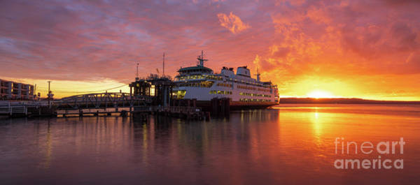Wall Art - Photograph - Mukilteo Ferry Sunset Reflection Panorama by Mike Reid