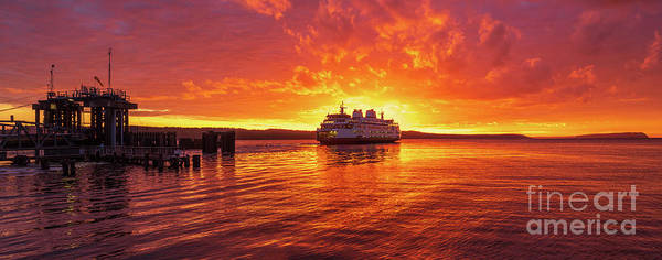 Wall Art - Photograph - Mukilteo Ferry Sunset Skies Reflection by Mike Reid