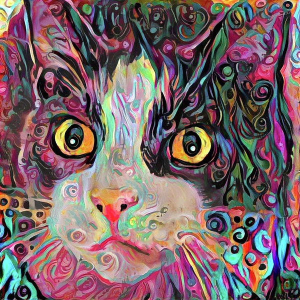 Digital Art - Multi Colored Black And White Tabby Cat by Peggy Collins