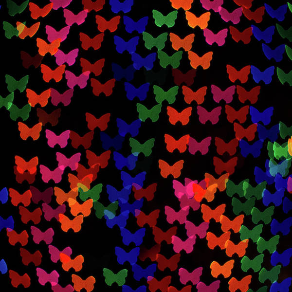 Celebration Photograph - Multi Colored Butterfly Shaped Lights by Lotus Carroll