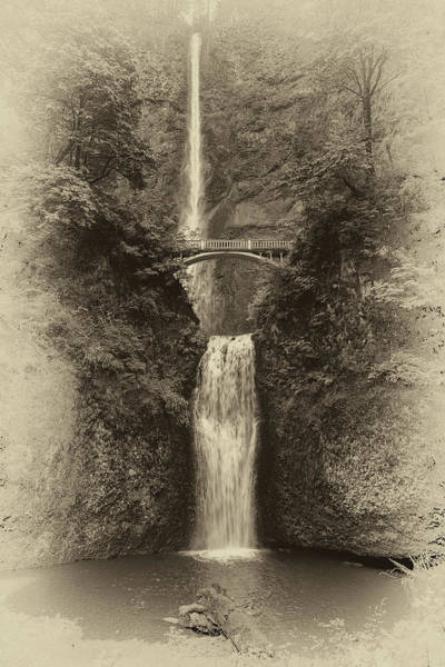 Photograph - Multnomah Falls Bw 2  by Harriet Feagin