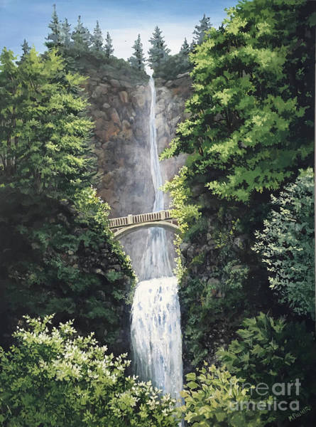 Painting - Multnomah Falls by Mary Palmer