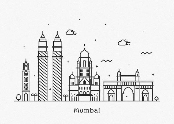 Wall Art - Drawing - Mumbai Cityscape Travel Poster by Inspirowl Design