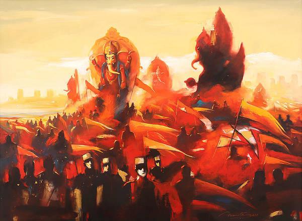 Ganesh Chaturthi Painting - Mumbai Ganesh Festival by Ananta Mandal