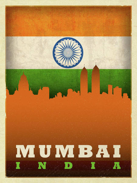Wall Art - Mixed Media - Mumbai India City Skyline Flag by Design Turnpike
