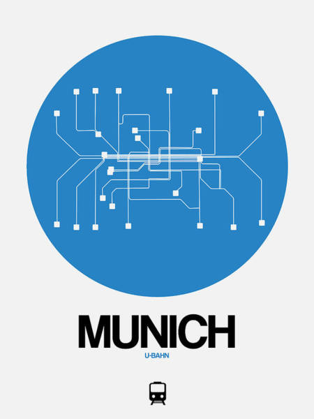 Wall Art - Digital Art - Munich Blue Subway Map by Naxart Studio