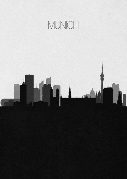 Digital Art - Munich Cityscape Art by Inspirowl Design