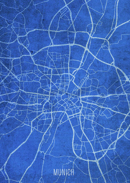 Wall Art - Mixed Media - Munich Germany City Street Map Blueprints by Design Turnpike