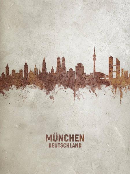 Wall Art - Digital Art - Munich Germany Rust Skyline by Michael Tompsett