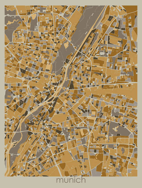 Wall Art - Digital Art - Munich Map Retro 4 by Bekim M