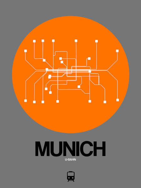 Wall Art - Digital Art - Munich Orange Subway Map by Naxart Studio