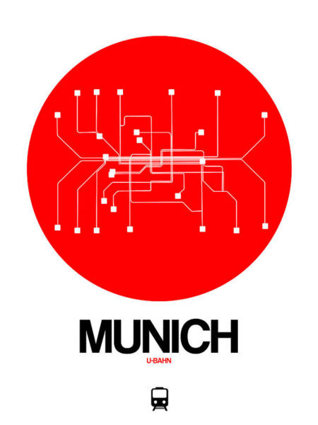 Wall Art - Digital Art - Munich Red Subway Map by Naxart Studio