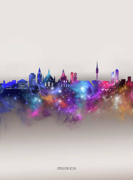 Wall Art - Digital Art - Munich Skyline Galaxy by Bekim M