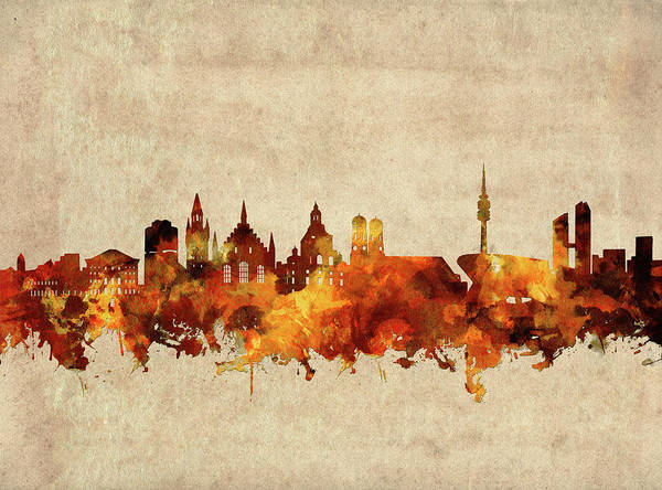 Wall Art - Digital Art - Munich Skyline Sepia by Bekim M