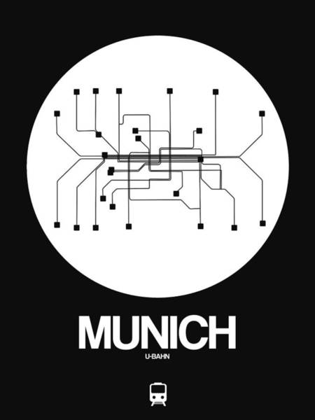 Wall Art - Digital Art - Munich White Subway Map by Naxart Studio