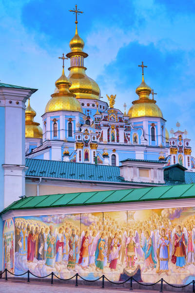 Photograph - Mural On The Wall Of  St. Michael's Golden-domed Monastery by Fabrizio Troiani