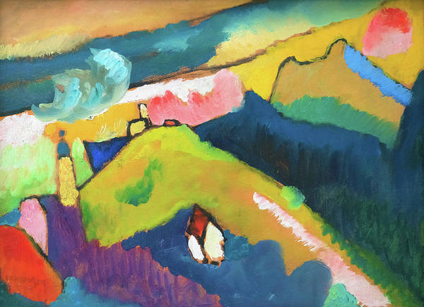 Wall Art - Painting - Murnau Mountain Landscape With Church - Digital Remastered Edition by Wassily Kandinsky