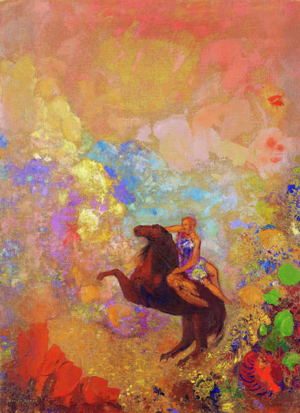 Wall Art - Painting - Muse In Pegasus - Digital Remastered Edition by Odilon Redon