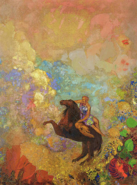 Wall Art - Painting - Muse On Pegasus, 1907 - 1910 by Odilon Redon