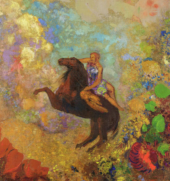 Wall Art - Painting - Muse On Pegasus, 1907 by Odilon Redon