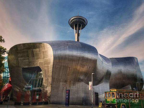 Photograph - Museum Of Pop Culture With Space Needle  by Mary Capriole