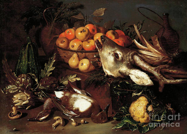 Wall Art - Painting - Mushrooms, Artichokes, A Basket Of Apples And A Cabbage With Dead Game On A Ledge  by Pseudo Salini