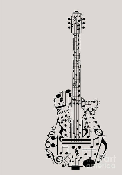 Note Wall Art - Digital Art - Music Guitar Concept Made With Musical by Archiwiz