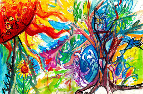 Wall Art - Painting - Music In Bird Of Tree With Octopus by Genevieve Esson